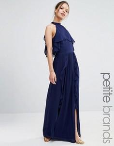 Платье макси с высокой горловиной и оборками TFNC Petite Wedding - Темно-синий