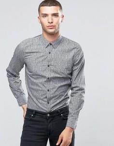 Рубашка слим со сплошным мелким принтом Sisley - Черный