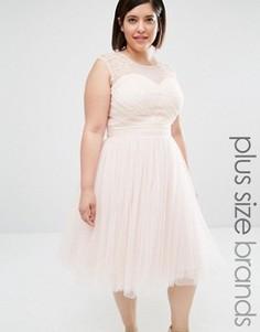 Платье для выпускного с отделкой Little Mistress Plus - Розовый