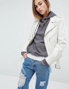 Байкерская кожаная куртка Schott - Белый
