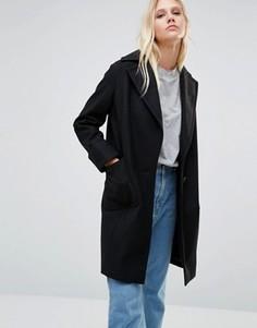 Черное пальто Cooper & Stollbrand Drop Break - Черный