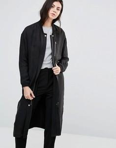 Длинное прямое пальто Minimum Seija - Черный