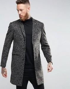 Пальто с леопардовым принтом Noose & Monkey - Золотой