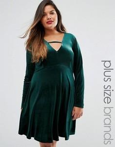 Бархатное приталенное платье Alice & You - Зеленый