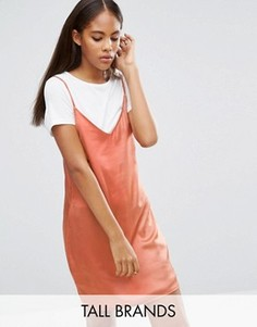 Атласное платье 2 в 1 Missguided Tall - Оранжевый