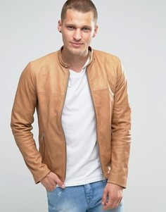 Светло-коричневая кожаная байкерская куртка Replay - Рыжий