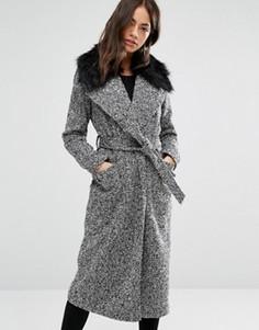 Пальто макси из искусственного меха с поясом New Look - Черный