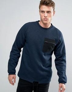 Свитшот с круглым вырезом и карманом Jack & Jones - Темно-синий