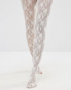 Колготки с принтом роз Jonathon Aston - Кремовый