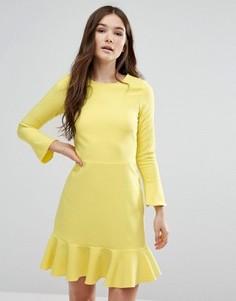 Платье с баской и рукавами-колокол Closet - Желтый