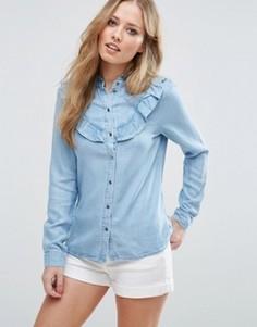 Джинсовая рубашка с рюшами Vero Moda - Синий