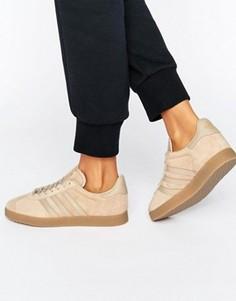 Бежевые кроссовки с каучуковой подошвой adidas Originals Gazelle - Коричневый