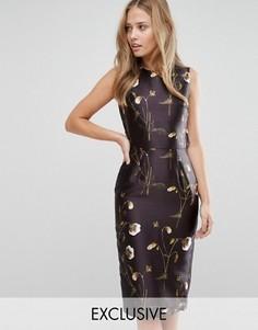 Атласное платье-футляр с цветочным принтом и оборкой Hope and Ivy - Мульти
