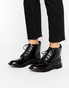 Лакированные ботинки на шнуровке Boohoo - Черный