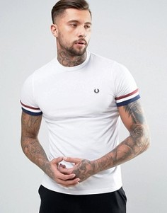 Белая футболка с полосками на манжетах Fred Perry - Белый