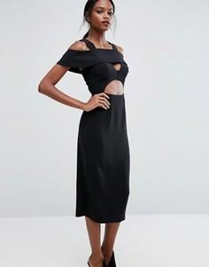 Платье миди с оборками AQ/AQ - Черный
