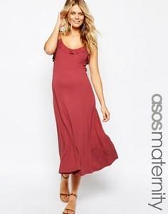 Платье миди с рюшами для беременных ASOS Maternity - Красный