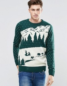 Джемпер с жаккардовым зимним узором Bellfield Christmas - Зеленый