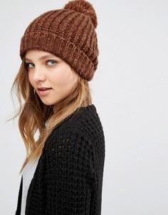 Вязаная шапка-бини медного цвета с помпоном Pieces - Оранжевый