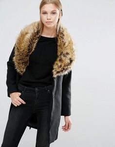 Пальто с искусственным мехом на воротнике Vila - Черный