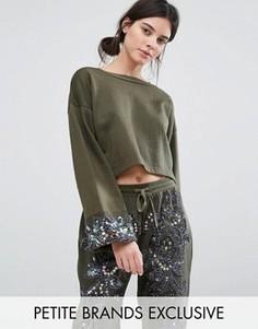 Свитшот с вышивкой бисером на манжетах Starry Eyed Petite - Зеленый
