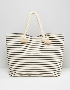 Пляжная сумка-тоут в полоску Hat Attack - Черный