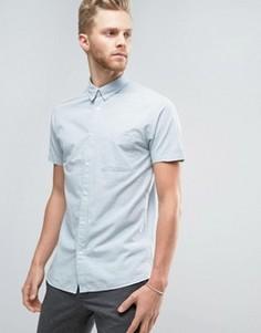 Полосатая рубашка узкого кроя с короткими рукавами Selected Homme - Синий