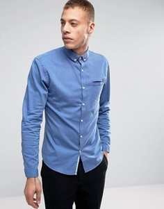 Темно-синяя узкая меланжевая рубашка Lindbergh - Синий
