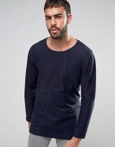 Трикотажный джемпер в рубчик с накладками Nudie Jeans Co Evan - Темно-синий