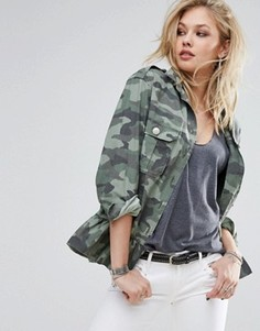 Камуфляжная куртка в стиле милитари с оборкой по краю Replay - Мульти
