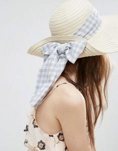 Соломенная шляпа с лентой в клеточку ASOS - Коричневый