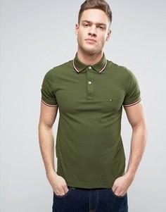 Облегающее зеленое поло из ткани пике Tommy Hilfiger - Зеленый