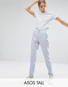 Узкие брюки с добавлением льна ASOS TALL - Серебряный