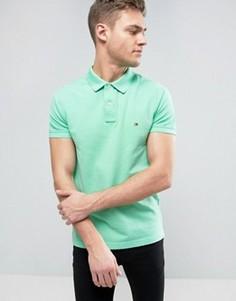 Облегающее зеленое поло из ткани пике с логотипом Tommy Hilfiger - Зеленый