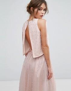 Кроп-топ с искусственным жемчугом Little Mistress - Розовый