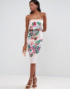 Платье миди с лифом-бандо и цветочным принтом ASOS - Мульти