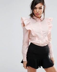 Рубашка с отделкой на рукавах Fashion Union - Розовый