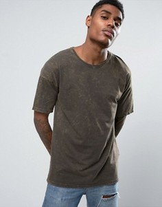 Oversize-футболка с эффектом кислотной стирки Black Kaviar - Зеленый