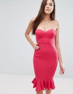 Платье-футляр с вырезом сердечком и оборкой по нижнему краю Rare London - Розовый