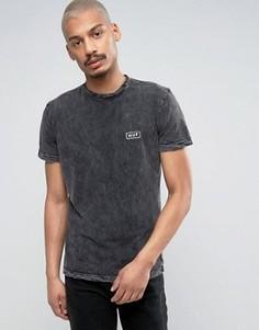 Мраморная футболка с небольшим логотипом HUF - Черный