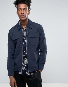 Темно-синяя узкая нейлоновая куртка в стиле милитари с 2 карманами Minimum Noha - Темно-синий