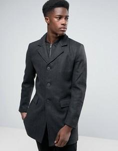 Пальто из смешанной шерсти с шевронным узором Selected - Черный