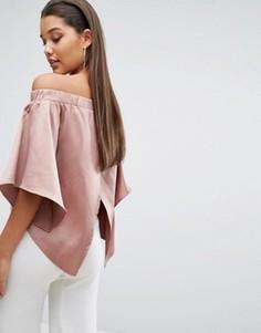Топ с открытыми плечами и разрезом на спине Parallel Lines - Розовый