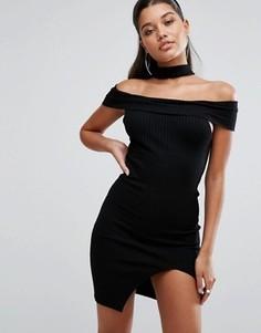 Облегающее платье с открытыми плечами и чокером Parallel Lines - Черный