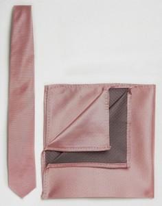 Галстук и платок-паше ASOS WEDDING - Розовый