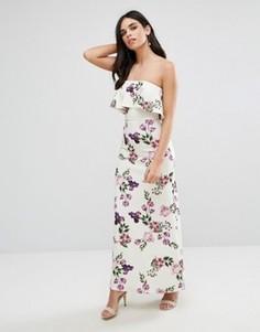 Платье-бандо макси с цветочным принтом и оборками Oh My Love - Белый