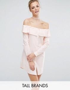 Платье-рубашка со спущенными плечами и пуговицами Fashion Union Tall - Розовый