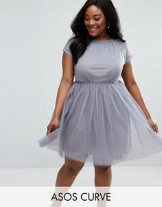 Платье мини для выпускного из кружева и тюля ASOS CURVE PREMIUM - Серый