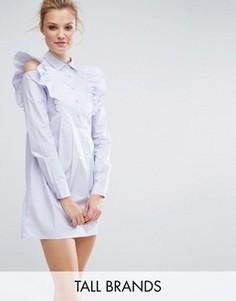 Платье-рубашка с оборками на плечах Fashion Union Tall - Синий