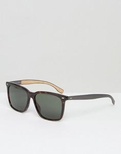 Квадратные солнцезащитные очки с черепаховым принтом BOSS by Hugo Boss - Коричневый